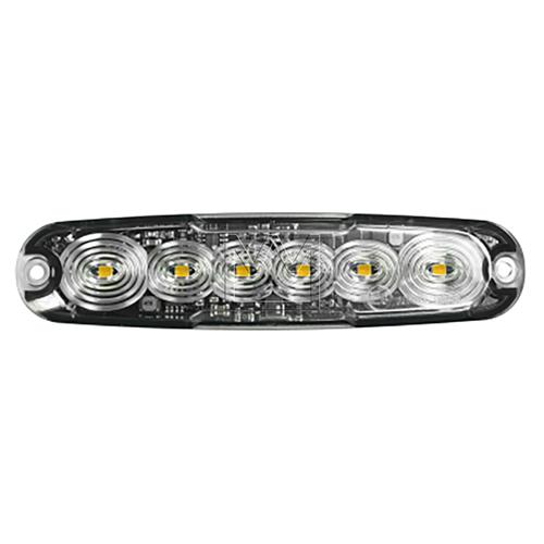 LED Autolamps R65 Amber Ultra Thin 6 LED Strobe PN:LPR656DVA