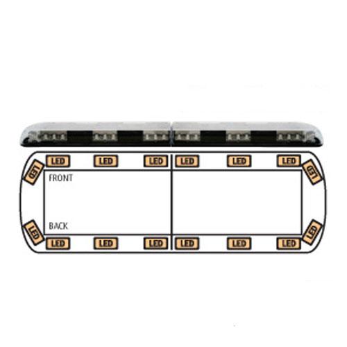 Ecco 12+ Series Reg65 1212mm 16 Amber LEDs Lightbar PN:12-30009-e