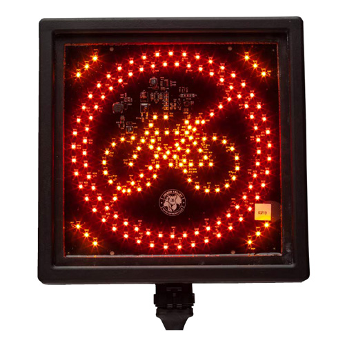Amber Valley AVCSWL04 Square Red/Amber LED Cycle warning sign PN: AVCSWL04